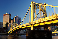 Pittsburgh, skyline, bridge, PA, Pennsylvania, View of the downtown skyline of Pittsburgh and the 7th Street Bridge crossing the Allegheny River.