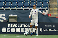 FOXBOROUGH, MA - AUGUST 7: Mateo Rodas #63 of Orlando City B organizes the team during a game between Orlando City B and New England Revolution II at Gillette Stadium on August 7, 2020 in Foxborough, Massachusetts.