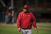 Orem Owlz coach Danny Ortega (24) during a Pioneer League game against the Helena Brewers at Kindrick Legion Field on August 21, 2018 in Helena, Montana. The Orem Owlz defeated the Helena Brewers by a score of 6-0. (Zachary Lucy/Four Seam Images)