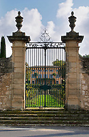 The Mas chateau that has given its name to the domaine. Mas La Chevaliere. near Beziers. Languedoc. The gate. The main building. France. Europe.