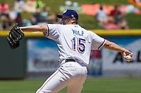 Round Rock starting pitcher Ross Wolf (15) delivers a pitch against the Nashville Sounds in the Pacific Coast League baseball game on May 5, 2013 at the Dell Diamond in Round Rock, Texas. Round Rock defeated Nashville 5-1. (Andrew Woolley/Four Seam Images).