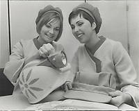 Hostesses Mary Hallam; left; and Diane Le Blanc. They will staff the Canadian Pacific-Cominco Pavilion at Expo.<br /> <br /> PHOTO :  Jeff Goode - Toronto Star Archives - AQP