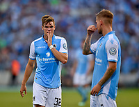 19.08.2018, Football DFB Pokal 2018/2019, 1. round, Tsv 1860 Muenchen - Holstein Kiel, Gruenwalderstadium Muenchen.  Simon Lorenz (1860 Muenchen) and Daniel Wein (1860 Muenchen) sind dejected.<br /><br /><br />***DFB rules prohibit use in MMS Services via handheld devices until two hours after a match and any usage on internet or online media simulating video foodaye during the match.*** *** Local Caption *** © pixathlon<br /> <br /> Contact: +49-40-22 63 02 60 , info@pixathlon.de