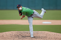 Gwinnett Stripers relief pitcher Dylan Lee (58) in action against the Charlotte Knights at Truist Field on May 9, 2021 in Charlotte, North Carolina. (Brian Westerholt/Four Seam Images)