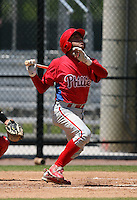 April 1, 2010:  Catcher Francisco Diaz of the Philadelphia Phillies organization during Spring Training at the Carpenter Complex in Clearwater, FL.  Photo By Mike Janes/Four Seam Images