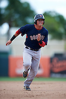 GCL Red Sox left fielder Raiwinson Lameda (17) running the bases during a game against the GCL Orioles on August 16, 2016 at the Ed Smith Stadium in Sarasota, Florida.  GCL Red Sox defeated GCL Orioles 2-0.  (Mike Janes/Four Seam Images)