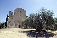 Veduta dell'abbazia di Sant'Antimo.<br /> View of the abbey of Sant'Antimo.<br /> UPDATE IMAGES PRESS/Riccardo De Luca
