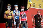 Steven Kruijswijk (NED), Polka Dot Jersey Sepp Kuss (USA) and race leader Red Jersey Primoz Roglic (SLO) Jumbo-Visma at sign on before Stage 2 of La Vuelta d'Espana 2021, running 166.7km from Caleruega. VIII Centenario de Santo Domingo de Guzmán to Burgos. Gamonal, Spain. 15th August 2021.    <br /> Picture: Luis Angel Gomez/Photogomezsport   Cyclefile<br /> <br /> All photos usage must carry mandatory copyright credit (© Cyclefile   Luis Angel Gomez/Photogomezsport)