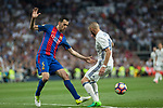 Sergio Busquets of FC Barcelona and Karim Benzema of Real Madrid during the match of La Liga between Real Madrid and Futbol Club Barcelona at Santiago Bernabeu Stadium  in Madrid, Spain. April 23, 2017. (ALTERPHOTOS)
