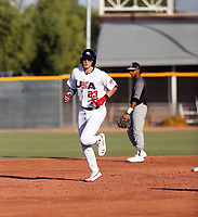 Alec Bohm plays for the USA Baseball Premier 12 Team in a game against Central Arizona College at the Kansas City Royals complex on October 27, 2019 in Surprise, Arizona (Bill Mitchell)