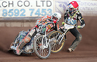Heat 6: Tai Woffinden (white) and Mikkel Bech (red) - Lakeside Hammers vs Wolverhampton Wolves, Elite League Speedway at the Arena Essex Raceway, Pufleet - 04/07/14 - MANDATORY CREDIT: Rob Newell/TGSPHOTO - Self billing applies where appropriate - 0845 094 6026 - contact@tgsphoto.co.uk - NO UNPAID USE