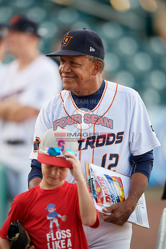 Bowling Green Hot Rods coach Manny Castillo (12) before a game against the Peoria Chiefs on September 15, 2018 at Bowling Green Ballpark in Bowling Green, Kentucky.  Bowling Green defeated Peoria 6-1.  (Mike Janes/Four Seam Images)