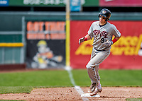 25 July 2017: Tri-City ValleyCats catcher Michael Papierski, a 9th round draft pick for the Houston Astros, rounds the bases after hitting his first professional career home run in the 9th inning against the Vermont Lake Monsters at Centennial Field in Burlington, Vermont. The Lake Monsters defeated the ValleyCats 11-3 in NY Penn League action. Mandatory Credit: Ed Wolfstein Photo *** RAW (NEF) Image File Available ***