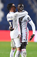 Ferland Mendy of Real Madrid celebrates after scoring the goal of 0-1 during the Champions League round of 16 football match between Atalanta BC and Real Madrid at Atleti azzurri d'Italia stadium in Bergamo (Italy), February, 24th, 2021. Photo Image Sport  / Insidefoto