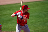 St. Louis Cardinals John Nogowski (34) bats during a Major League Spring Training game against the New York Mets on March 19, 2021 at Clover Park in St. Lucie, Florida.  (Mike Janes/Four Seam Images)