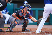 Fresno Grizzles catcher Tyler Heineman (8) during a game against the Oklahoma City Dodgers on June 1, 2015 at Chickasaw Bricktown Ballpark in Oklahoma City, Oklahoma.  Fresno defeated Oklahoma City 14-1.  (Mike Janes/Four Seam Images)