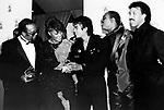 Michael Jackson 1986 with Quincy Jones, Dionne Warwick, Stevie Wonder and Lionel Richie after winning Grammy Award for 'We Are The World'.© Chris Walter.
