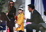 "Gov. Brian Sandoval thanks Haylee Reynolds, 13, and Alexia Ciobanu, 7, for their performance of ""Home Means Nevada"" at the inauguration at the Capitol, in Carson City, Nev., on Monday, Jan. 5, 2015.<br /> Photo by Cathleen Allison"