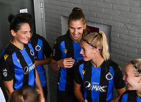 Frieke Temmerman (17) of Club Brugge and Marie Minnaert (13) of Club Brugge pictured during a female soccer game between Club Brugge Dames YLA and KRC Genk on the fifth matchday of the 2021 - 2022 season of Belgian Scooore Womens Super League , saturday 2 october 2021 in Aalter , Belgium . PHOTO SPORTPIX   DAVID CATRY