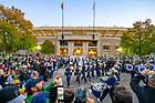 October 23, 2021; The Notre Dame Marching Band enters Notre Dame Stadium on a football game day, 2021. (photo by Matt Cashore)