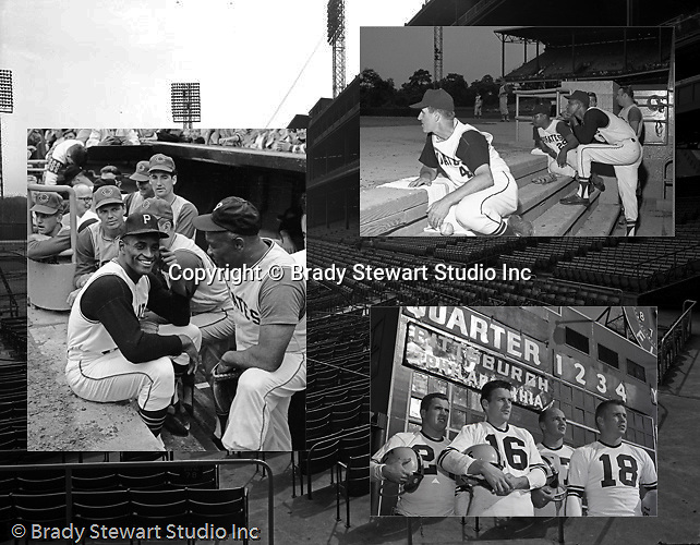 Pittsburgh PA:  Views of Forbes Field, home of the Pittsburgh Pirates and Pittsburgh Steelers.  Background - Forbes Field under construction; Left - Roberto Clemente laughing during the Hypo Charity Game between PIttsburgh and Cleveland; Right - Don Clendenon, Coach Pesky and Chilly Billy in dugout during Hypo Game; Pittsburgh Steelers Len Dawson and Ted Marchibrota posing for publicity photos at Forbes Field