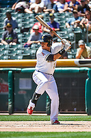 Efren Navarro (28) of the Salt Lake Bees at bat against the El Paso Chihuahuas in Pacific Coast League action at Smith's Ballpark on July 26, 2015 in Salt Lake City, Utah. El Paso defeated Salt Lake 6-3 in 10 innings. (Stephen Smith/Four Seam Images)