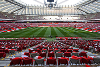 8th September 2021; PGE National Stadium, Warsaw, Poland: FIFA World Cup 2022 Football qualification, Poland versus England; The stadium ready for the game before crowds arrive