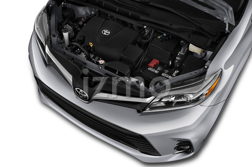 Car stock 2020 Toyota Sienna Limited FWD 5 Door Mini Van engine high angle detail view
