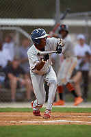 TJ McKenzie during the WWBA World Championship at the Roger Dean Complex on October 18, 2018 in Jupiter, Florida.  TJ McKenzie is a shortstop from Loxahatchee, Florida who attends The Benjamin School and is committed to Vanderbilt.  (Mike Janes/Four Seam Images)