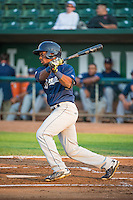 Troy Stokes (5) of the Helena Brewers at bat against the Ogden Raptors in Pioneer League action at Lindquist Field on August 19, 2015 in Ogden, Utah. Ogden defeated Helena 4-2.  (Stephen Smith/Four Seam Images)