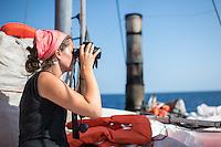 Sea Watch-2.<br /> Die Sea Watch-2 ist zu ihrer 13. SAR-Mission vor der libyschen Kueste.<br /> Im Bild: Ein Crew-Mitglied bei der Wache.<br /> 18.10.2016, Mediterranean Sea<br /> Copyright: Christian-Ditsch.de<br /> [Inhaltsveraendernde Manipulation des Fotos nur nach ausdruecklicher Genehmigung des Fotografen. Vereinbarungen ueber Abtretung von Persoenlichkeitsrechten/Model Release der abgebildeten Person/Personen liegen nicht vor. NO MODEL RELEASE! Nur fuer Redaktionelle Zwecke. Don't publish without copyright Christian-Ditsch.de, Veroeffentlichung nur mit Fotografennennung, sowie gegen Honorar, MwSt. und Beleg. Konto: I N G - D i B a, IBAN DE58500105175400192269, BIC INGDDEFFXXX, Kontakt: post@christian-ditsch.de<br /> Bei der Bearbeitung der Dateiinformationen darf die Urheberkennzeichnung in den EXIF- und  IPTC-Daten nicht entfernt werden, diese sind in digitalen Medien nach §95c UrhG rechtlich geschuetzt. Der Urhebervermerk wird gemaess §13 UrhG verlangt.]