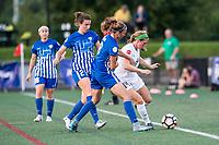 Boston, MA - Friday August 04, 2017: Morgan Andrews, Julie King and Maegan Kelly during a regular season National Women's Soccer League (NWSL) match between the Boston Breakers and FC Kansas City at Jordan Field.