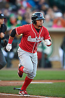 Great Lakes Loons first baseman Josmar Cordero (16) runs to first during a game against the Dayton Dragons on May 21, 2015 at Fifth Third Field in Dayton, Ohio.  Great Lakes defeated Dayton 4-3.  (Mike Janes/Four Seam Images)