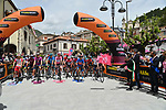 The start of Stage 9 of the 2021 Giro d'Italia, running 158km from Castel di Sangro to Campo Felice (Rocca di Cambio), Italy. 16th May 2021.  <br /> Picture: LaPresse/Gian Mattia D'Alberto | Cyclefile<br /> <br /> All photos usage must carry mandatory copyright credit (© Cyclefile | LaPresse/Gian Mattia D'Alberto)