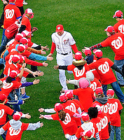 31 March 2011: Washington Nationals third baseman Ryan Zimmerman arrives on field during the pre-game ceremonies of Opening Day, prior to a game between the Washington Nationals and the Atlanta Braves at Nationals Park in Washington, District of Columbia. The Braves shut out the Nationals 2-0 to open the 2011 Major League Baseball season. Mandatory Credit: Ed Wolfstein Photo