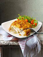 Lightly battered cod & Salad food