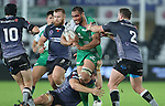 A bloodied Connacht number 8 George Naoupu in need of support as Ospreys trio Lloyd Peers, Sam Parry and Sam Davies close in.<br /> Guiness Pro12<br /> Ospreys v Connacht<br /> Liberty Stadium<br /> 31.10.14<br /> ©Steve Pope-SPORTINGWALES