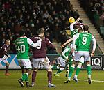 03.03.2020 Hibs v Hearts: Scott Allan handballs for a penalty