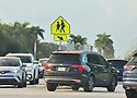 PEMBROKE PINES, FLORIDA - AUGUST 18: A General view of traffic as the first day of classes at Broward County Public school begin in Pembroke Pines, Florida, U.S., on Wednesday, Aug. 18, 2021.  Florida State Board of Education said it would force defiant school districts to comply with Republican Governor Ron DeSantis executive order forbidding them from mandating students wear masks as a way to slow a surge in Covid-19 cases. ( Photo by Johnny Louis / jlnphotography.com )