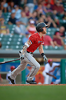 Rochester Red Wings center fielder Jeremy Hazelbaker (21) follows through on a swing during a game against the Indianapolis Indians on July 24, 2018 at Victory Field in Indianapolis, Indiana.  Rochester defeated Indianapolis 2-0.  (Mike Janes/Four Seam Images)