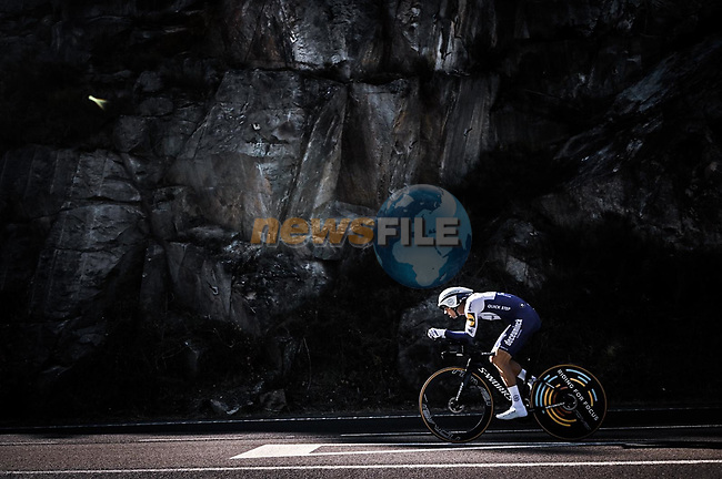 Deceuninck-Quick Step rider in action during Stage 13 of the Vuelta Espana 2020 an individual time trial running 33.7km from Muros to Mirador de Ézaro. Dumbría, Spain. 3rd November 2020. <br /> Picture: Unipublic/Charly Lopez | Cyclefile<br /> <br /> All photos usage must carry mandatory copyright credit (© Cyclefile | Unipublic/Charly Lopez)