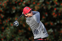 PINEHURST, NC - MARCH 02: Christian Salzer of North Carolina State University tees off on the first hole at Pinehurst No. 2 on March 02, 2021 in Pinehurst, North Carolina.