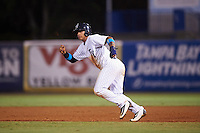 Tampa Yankees shortstop Gleyber Torres (11) running the bases during a game against the Daytona Tortugas on August 5, 2016 at George M. Steinbrenner Field in Tampa, Florida.  Tampa defeated Daytona 7-1.  (Mike Janes/Four Seam Images)