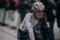 race winner Ben Tulett (GBR) after crossing the finish line<br /> <br /> Junior Men's Race<br /> CX Vlaamse Druivencross Overijse 2017