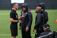 The referee speaks to the Hornchurch management team during Bowers & Pitsea vs Hornchurch, Emirates FA Cup Football at The Len Salmon Stadium on 2nd October 2021