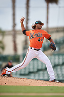 Baltimore Orioles pitcher Marcos Molina (44) delivers a pitch during a Florida Instructional League game against the Boston Red Sox on October 8, 2018 at the Ed Smith Stadium in Sarasota, Florida.  (Mike Janes/Four Seam Images)