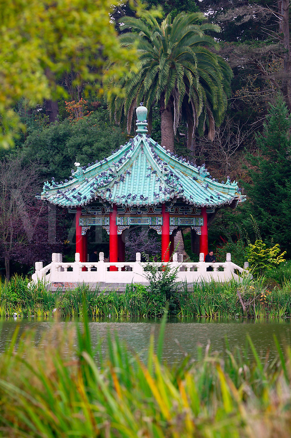 A Pagoda structure at Stow Lake, Golden Gate Park, San Francisco, California