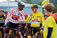 4th July 2021; Tignes, France;  POELS Wouter (NED) of BAHRAIN VICTORIOUS and POGACAR Tadej (SLO) of UAE TEAM EMIRATES during stage 9 of the 108th edition of the 2021 Tour de France cycling race, a stage of 144,9 kms between Cluses and Tignes on July 4