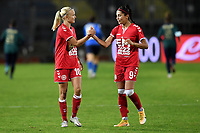 Pernille Harder and Nadia Nadim of Denmark celebrate during the Women s EURO 2022 qualifying football match between Italy and Denmark at stadio Carlo Castellani in Empoli (Italy), October, 27th, 2020. Photo Andrea Staccioli / Insidefoto