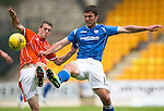 St Johnstone v Blackpool...25.07.15  McDiarmid Park, Perth.. Pre-Season Friendly<br /> John Sutton and Jim McAlister<br /> Picture by Graeme Hart.<br /> Copyright Perthshire Picture Agency<br /> Tel: 01738 623350  Mobile: 07990 594431